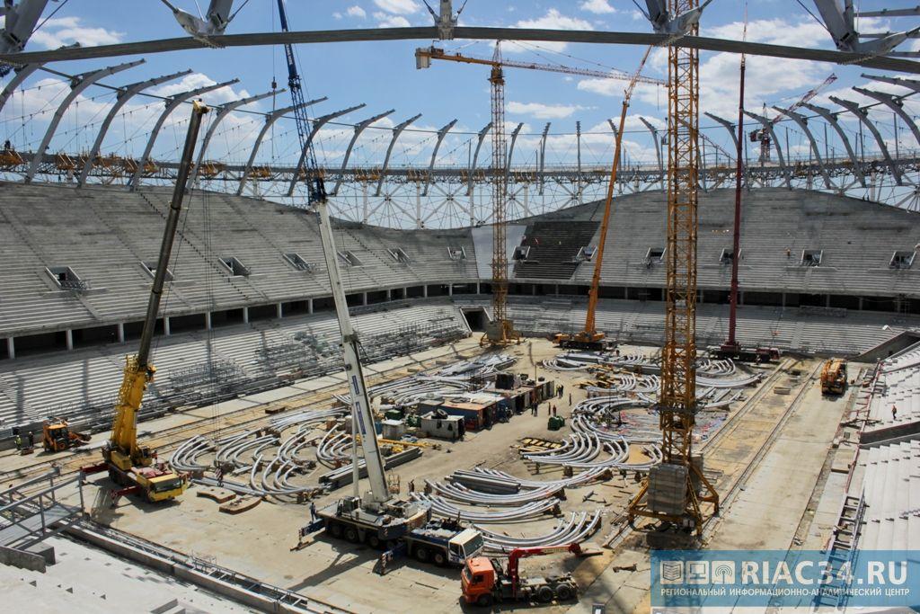 На «Волгоград Арене» завершен «большой подъем» крупнейшей в РФ вантовой кровли