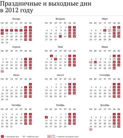 рабочий график 2012: